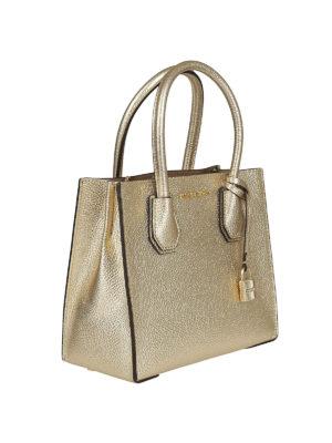 MICHAEL KORS: borse a tracolla online - Mercer S in pelle metallizzata