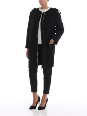 MICHAEL KORS: cappotti al ginocchio online - Cappotto senza collo nero con zip dorata