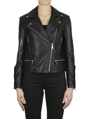MICHAEL KORS: giacche in pelle online - Giacca biker in pelle con ruches