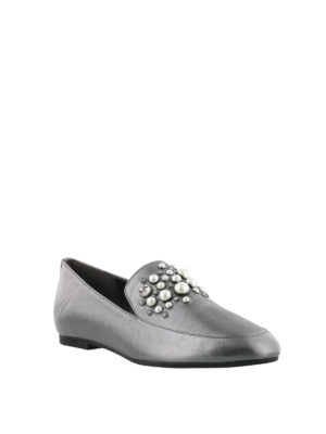MICHAEL KORS: Mocassini e slippers online - Mocassini argento decorati Gia
