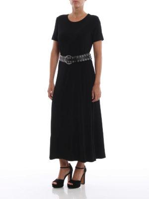 MICHAEL KORS: abiti lunghi online - Abito maxi in jersey nero con cinturone