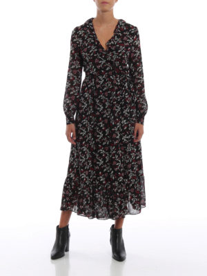 MICHAEL KORS: abiti lunghi online - Abito a vestaglia in crepe a fiori con ruches