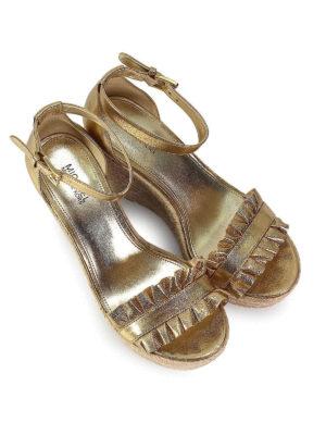 MICHAEL KORS: sandali online - Zeppe Bella in pelle dorata