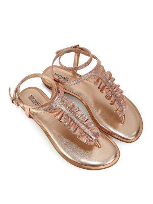 MICHAEL KORS: sandali online - Infradito Bella in pelle oro rosa