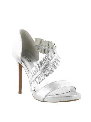 MICHAEL KORS: sandali online - Sandali alti Bella in pelle argento