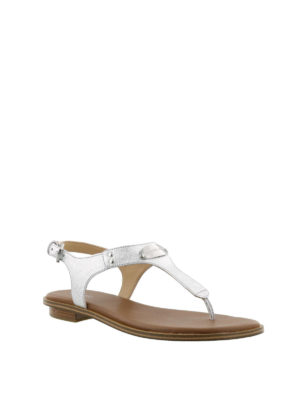 MICHAEL KORS: sandali online - Sandali Plate in Saffiano argento