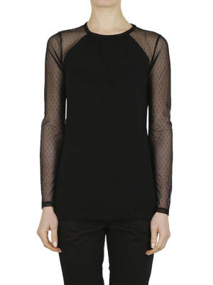 MICHAEL KORS: t-shirt online - T-shirt con maniche in tulle a pois