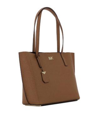 MICHAEL KORS: shopper online - Borsa shopper Ana in pelle a grana marrone