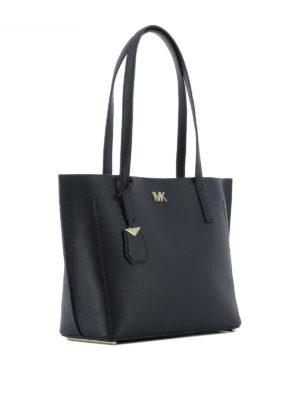 MICHAEL KORS: shopper online - Borsa shopper Ana in pelle a grana blu scuro