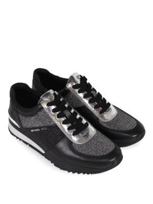 MICHAEL KORS: sneakers online - Sneaker Allie in pelle nera e lurex argento