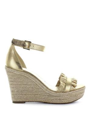MICHAEL KORS: sandali - Zeppe Bella in pelle dorata