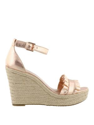 MICHAEL KORS: sandali - Zeppe Bella pelle metallizzata