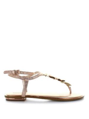 MICHAEL KORS: sandali - Infradito Bella in pelle oro rosa
