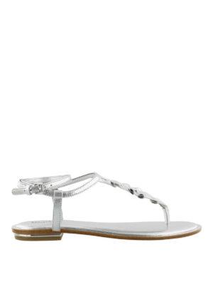 MICHAEL KORS: sandali - Sandali Bella in pelle argento