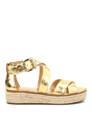 Michael Kors: sandals - Darby cocco print wedge sandals