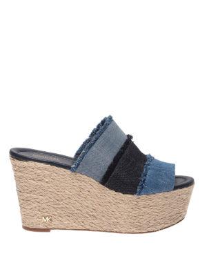 MICHAEL KORS: sandals - Denim wedge sandals