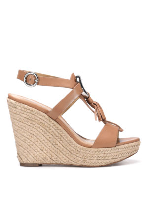 Michael Kors: sandals - Leather sandals with jute wedge