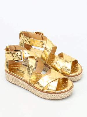 Michael Kors: sandals online - Darby cocco print wedge sandals