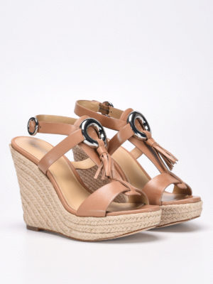 Michael Kors: sandals online - Leather sandals with jute wedge