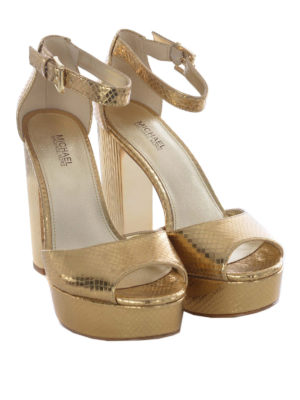 Michael Kors: sandals online - Snake print golden leather sandals
