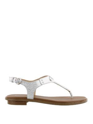MICHAEL KORS: sandali - Sandali Plate in Saffiano argento