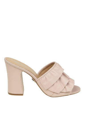 Michael Kors: sandals - Ruched leather heeled sandals