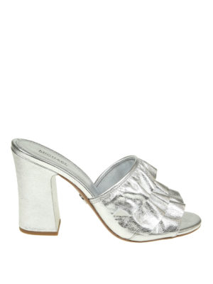 Michael Kors: sandals - Ruched silver leather sandals
