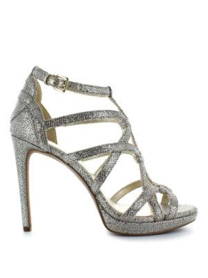 MICHAEL KORS: sandali - Sandali alti glitterati Sandra a gabbia