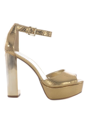 Michael Kors: sandals - Snake print golden leather sandals