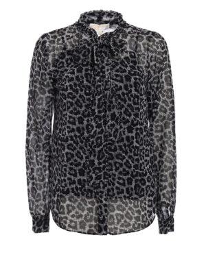 Michael Kors: shirts - Animal print shirt with bow