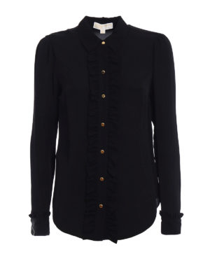 Michael Kors: shirts - Black silk ruched shirt