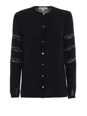 Michael Kors: shirts - Crepe embellished crew neck shirt