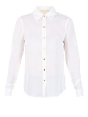 Michael Kors: shirts - Gold-tone buttons silk shirt