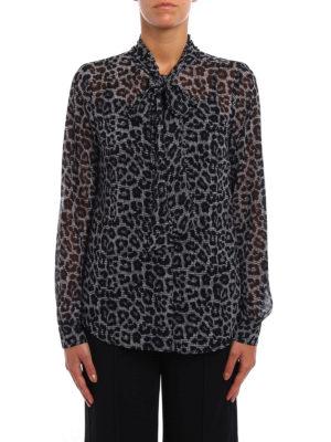 Michael Kors: shirts online - Animal print shirt with bow