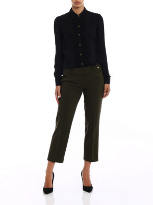 Michael Kors: shirts online - Black silk ruched shirt