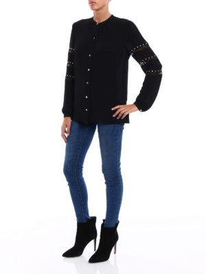 Michael Kors: shirts online - Crepe embellished crew neck shirt