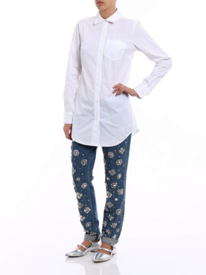Michael Kors: shirts online - Long poplin white shirt