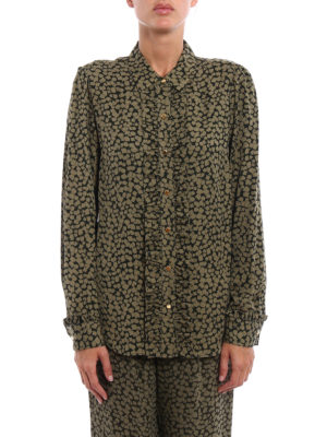 Michael Kors: shirts online - Printed silk ruched shirt