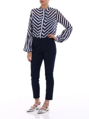 Michael Kors: shirts online - Sheer striped guru collar shirt