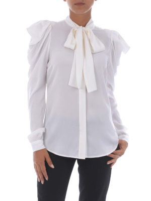 Michael Kors: shirts online - White stretch silk bow shirt