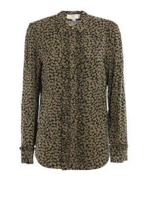 Michael Kors: shirts - Printed silk ruched shirt