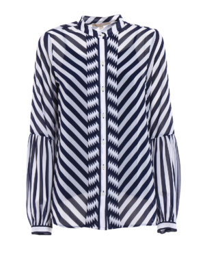 Michael Kors: shirts - Sheer striped guru collar shirt