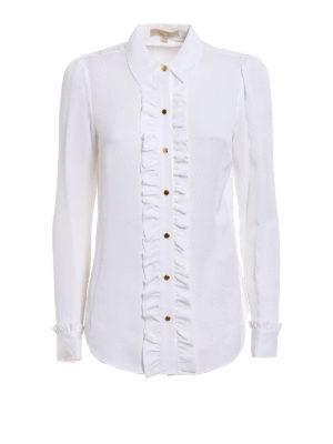 Michael Kors: shirts - White silk ruched shirt