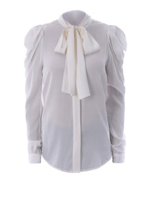 Michael Kors: shirts - White stretch silk bow shirt