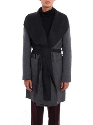 Michael Kors: short coats online - Double wool reversible wrap coat