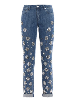 Michael Kors: straight leg jeans - Dillon Relaxed embellished jeans