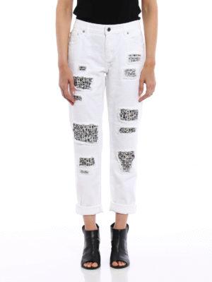 Michael Kors: straight leg jeans online - Rhinestone detail ripped jeans
