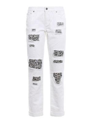 Michael Kors: straight leg jeans - Rhinestone detail ripped jeans