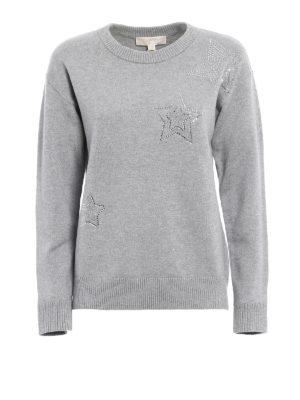 Michael Kors: Sweatshirts & Sweaters - Rhinestone-stars over sweatshirt