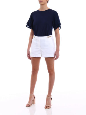 Michael Kors: t-shirts online - Polka dot sleeved blue T-shirt